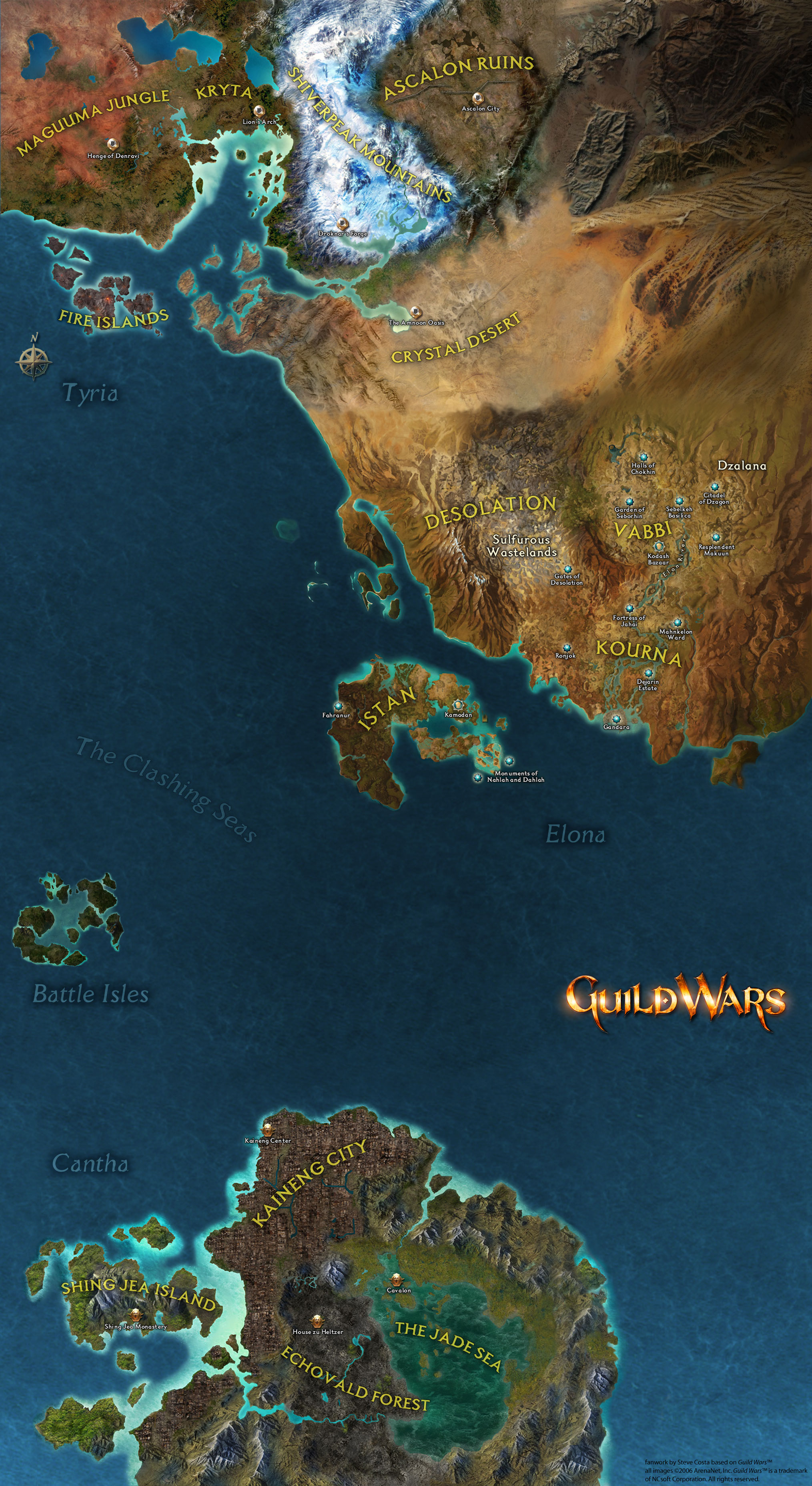 Spotlight the world totally tyria the maps from guild wars 1 connected to show where the continents lay gumiabroncs Choice Image